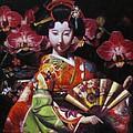 Geisha With Orchids by Takayuki Harada