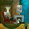 Gentleman Sitting In Wingback Chair Enjoying A Brandy by John Lyes