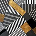 Geo Stripes In Gold And Black II by Lanie Loreth