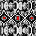 Pattern Black White Red Op Art No.389. by Drinka Mercep