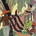 George Barbier. Spanish Lady In Hammoc With Parrot.  by Pierpont Bay Archives