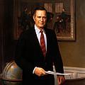 George Hw Bush Presidential Portrait by War Is Hell Store