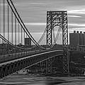 George Washington Bridge Frame Work Bw by Michael Ver Sprill