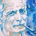 Georges Brassens - Watercolor Portrait by Fabrizio Cassetta