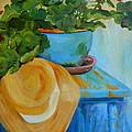 Geraniums And A Hat by Deborah Carroll