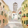 Geraniums Cannaregio Watercolor Painting Of Venice Italy by Beverly Brown