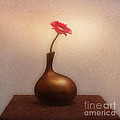 Gerbera In Gold Vase by Malcolm Bumstead