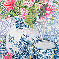 Gerberas In A Coalport Jug With Blue Pots by Joan Thewsey