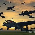 German Heinkel Bombers Taking by Mark Stevenson