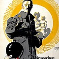 German Political Poster Shows A Soldier Standing In Front Of A Woman And Her Children by Anonymous