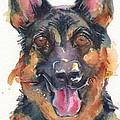 German Shepherd Watercolor by Maria's Watercolor