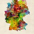 Germany Watercolor Map Deutschland by Michael Tompsett