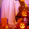 Ghost With Pumpkins by Garry Gay