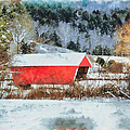 Gifford Covered Bridge In Winter by Jeff Folger
