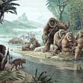 Gigantopithecus With Homo Erectus by John Sibbick / Science Photo Library