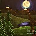 Giraffe In The Moonlight by Erin Nessler