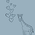 Giraffe With Hearts by P S