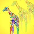 Giraffe X 3 - Yellow by Joyce Dickens