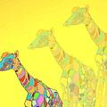 Giraffe X 3 - Yellow - The Card by Joyce Dickens