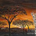 Giraffes At Sunset by John Garland  Tyson