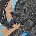 Girl And Baby Elephant by Shelley Jones