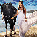 Girl And Horse On Beach by Tim Gilliland