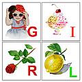 Girl Art Alphabet For Kids Room by Irina Sztukowski