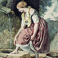Girl At A Conduit by Karoly or Charles Brocky