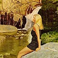 Girl At Waterfall by Mike Caitham