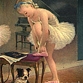 Girl Ballet Dancer Ties Her Slipper With Boston Terrier Dog by Pierponit Bay Archives