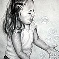 Girl Blowing Bubbles II by Jane Steelman