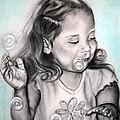 Girl Blowing Bubbles by Jane Steelman