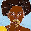 Girl Eating Mango by Martha Rucker