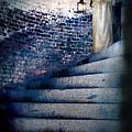 Girl In Nightgown On Circular Stone Steps by Jill Battaglia