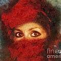 Girl In Red Turban by Mo T