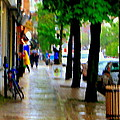 Girl In The Yellow Raincoat Rainy Stroll Through Streets Of The City Montreal Scenes Carole  by Carole Spandau
