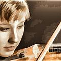 Girl Musician And Violin Or Viola Painting Color 3362.02 by M K Miller