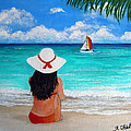 Girl On A Turquoise Beach by Amy Scholten