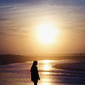 Girl On The Beach At Sunrise by Bill Cannon