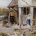 Girl Outside A Cottage by Forest Myles Birket