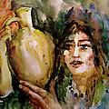 Girl With A Jug. by Faruk Koksal