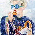 Girl With Glasses Eating Pretzel - Oil Portrait by Fabrizio Cassetta