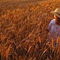 Girl With Hat In Field by Don Hammond