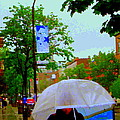 Girl With Large Umbrella Its Raining Its Pouring April Showers Montreal Scenes Carole Spandau Art by Carole Spandau
