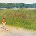 Girl Walking Dog by Angela Inguaggiato