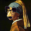 Girl With The Pearl Earring And Groucho Glasses by Tony Rubino