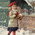 Girl With Umbrella In A Snow Shower by American School