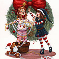 Girls Decorating For Christmas by Isabella Kung