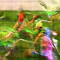 Girls Lacrosse Abstract by Susan Leggett