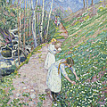 Girls Picking Wood Anemone by Lars Jorde